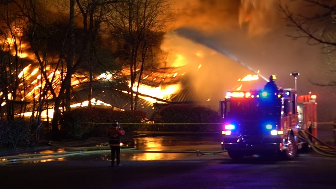 A fire tore through a 72,000-square-foot warehouse at Sundance Marina.