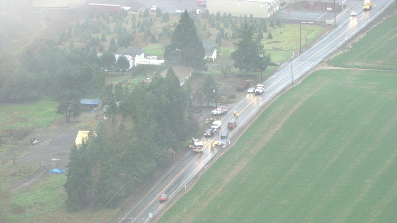 Three people were killed and a child was critically injured in a crash on Hwy 47 on Tuesday morning. (Photo: KPTV/AIR 12)