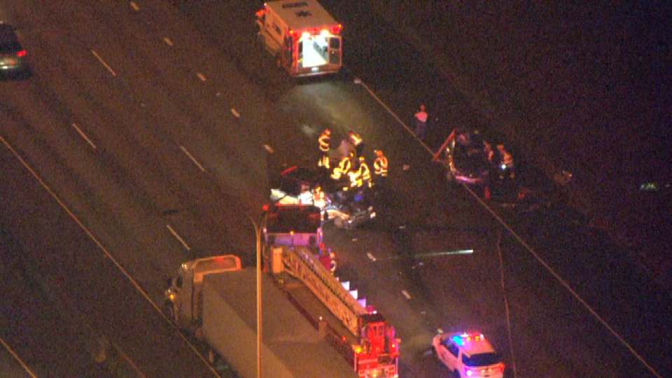 Air 12 over scene on I-5