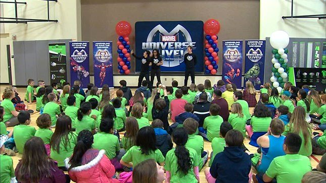 Students at Ardenwald Elementary in Milwaukie met actors with Marvel Universe Live after collecting more than 1,400 plastic bottles during a recycling contest.