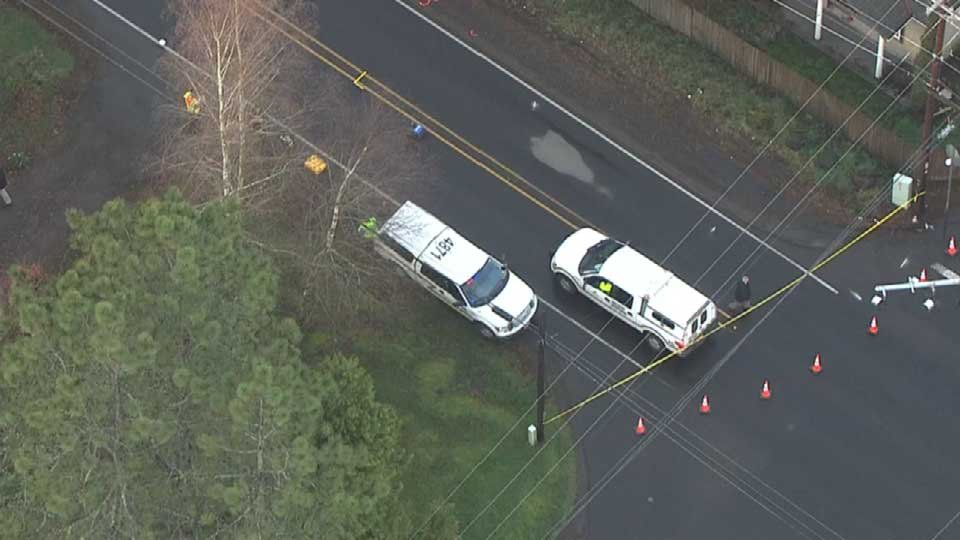 AIR 12 over the scene where a woman's body was found on the side of the road Thursday (Photo: KPTV)