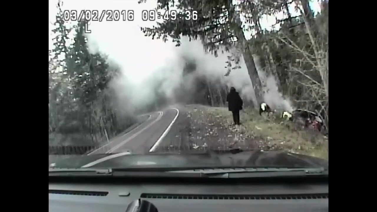 Image from dashcam video of a crash scene on Highway 223 near Monmouth. (Image: Lincoln County Sheriff's Office)