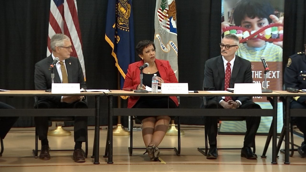 U.S. Attorney General Loretta Lynch met with city leaders including mayor Charlie Hales during a stop in Portland Thursday. (KPTV)
