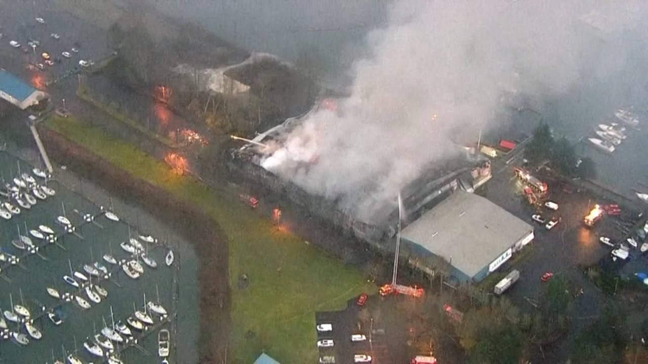 Air 12 image of four-alarm fire at Sundance marina.