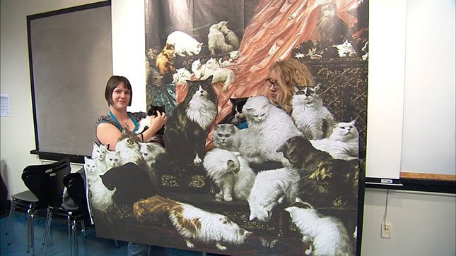 """Oregon Humane Society cats got to visit the """"world's greatest cat painting,"""" which is on display at the Portland Art Museum."""