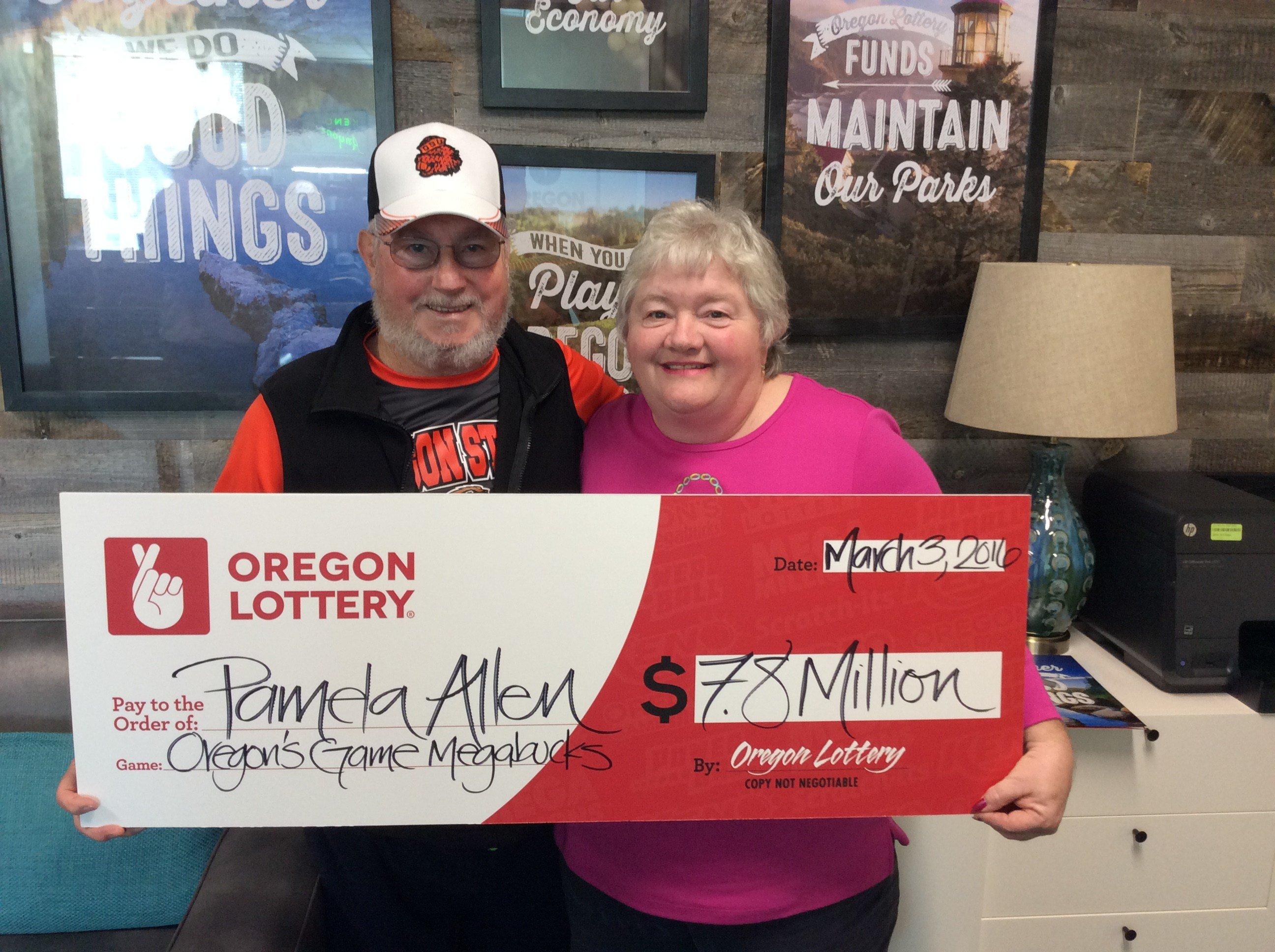 Pam and Curt Allen won $7.8 million playing Oregon's Game Megabucks (Courtesy: Oregon Lottery)
