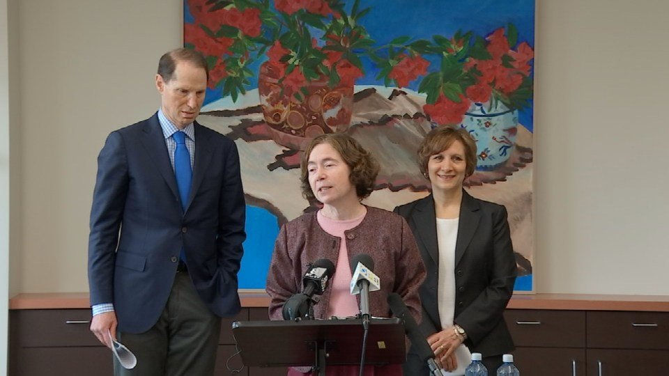Sen. Ron Wyden and Rep. Suzanne Bonamici joined other local leaders Friday to discuss the opening on the United States Supreme Court. (KPTV)