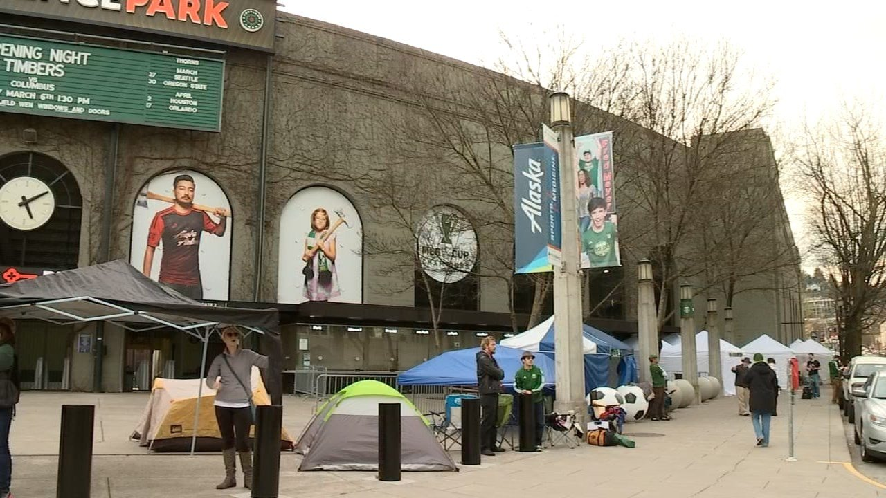 Timbers fans were already lined up outside Providence Park Friday, two days before the season opener against Columbus, to make sure they get a great seat. (KPTV)