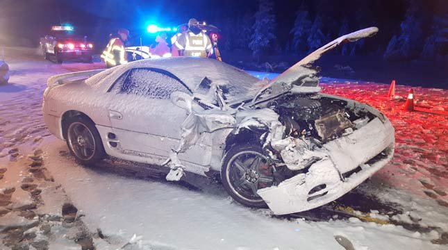 Police said the driver who was killed lost control of his car on the icy roadway. (Photo: OSP)