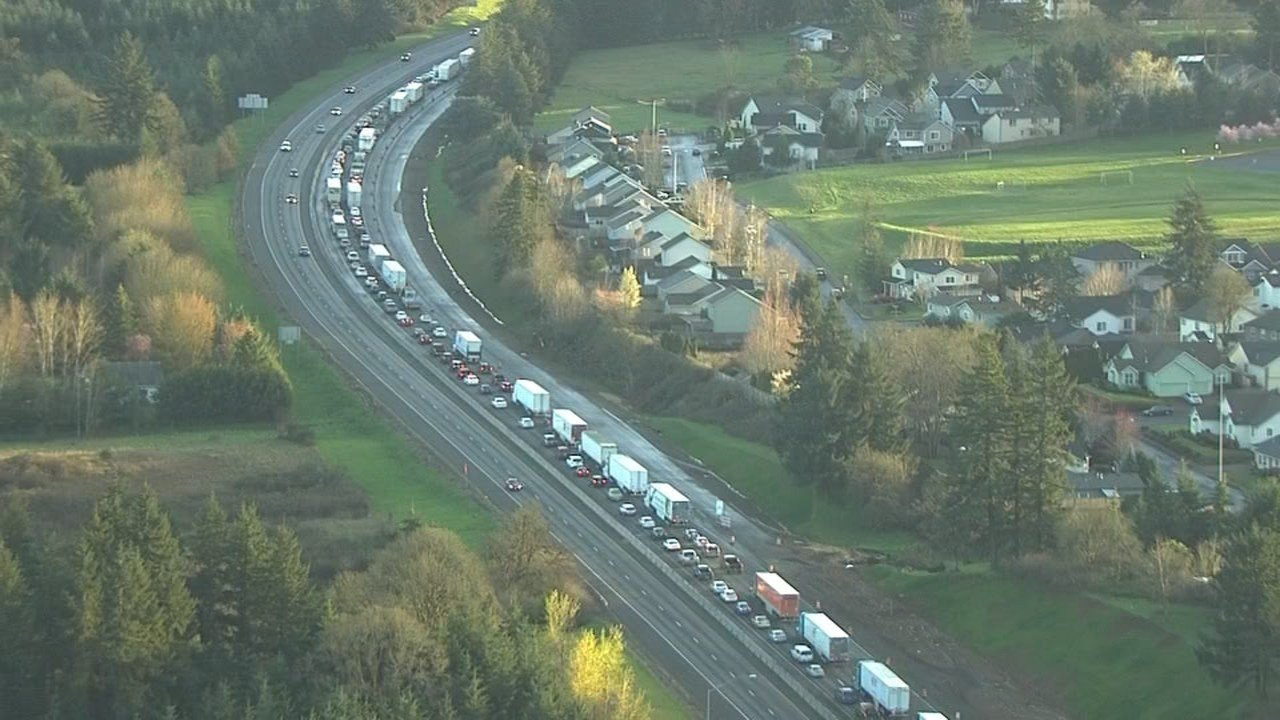 I-5 traffic was backed up for miles as emergency crews responded to reports of multiple crashes.