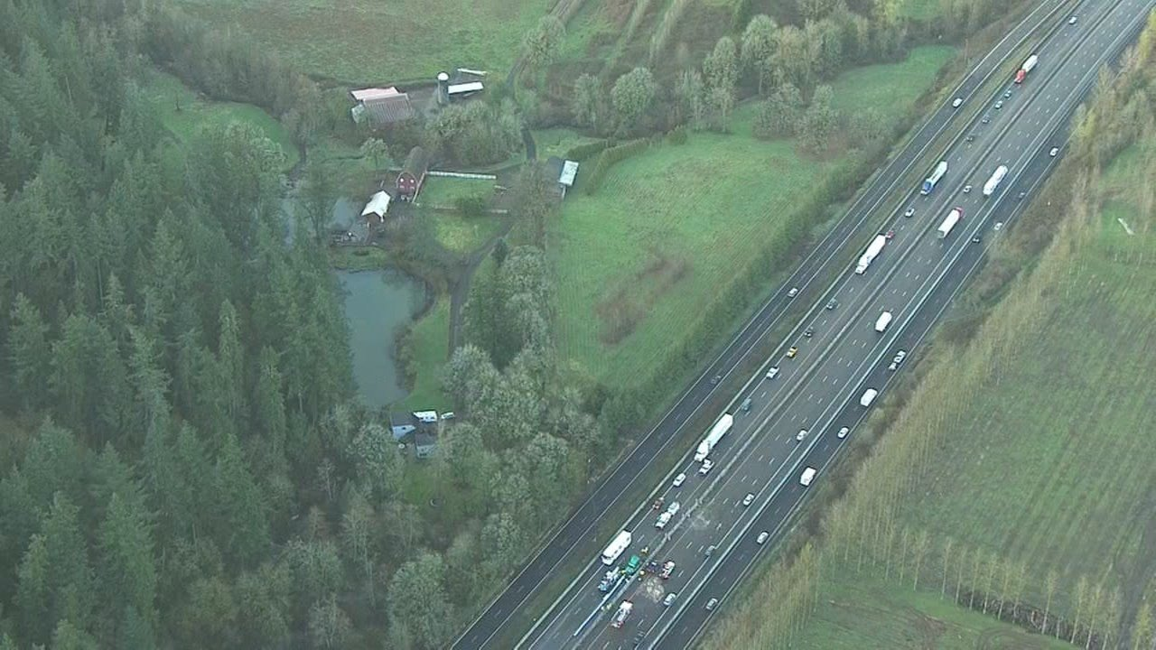 Multiple crashes blocked Interstate 5 in both directions about eight miles south of Salem during Monday evening's commute.