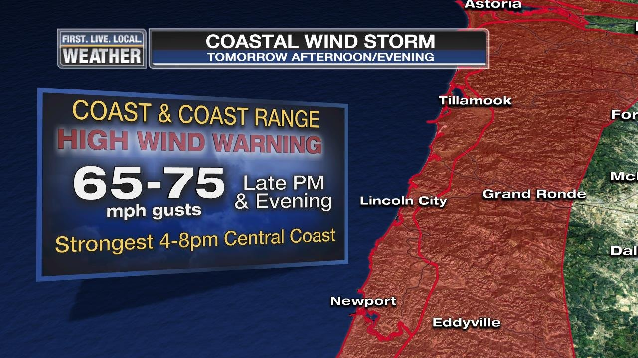 A high wind warning is in effect for areas along the Oregon and Washington Coast Wednesday afternoon