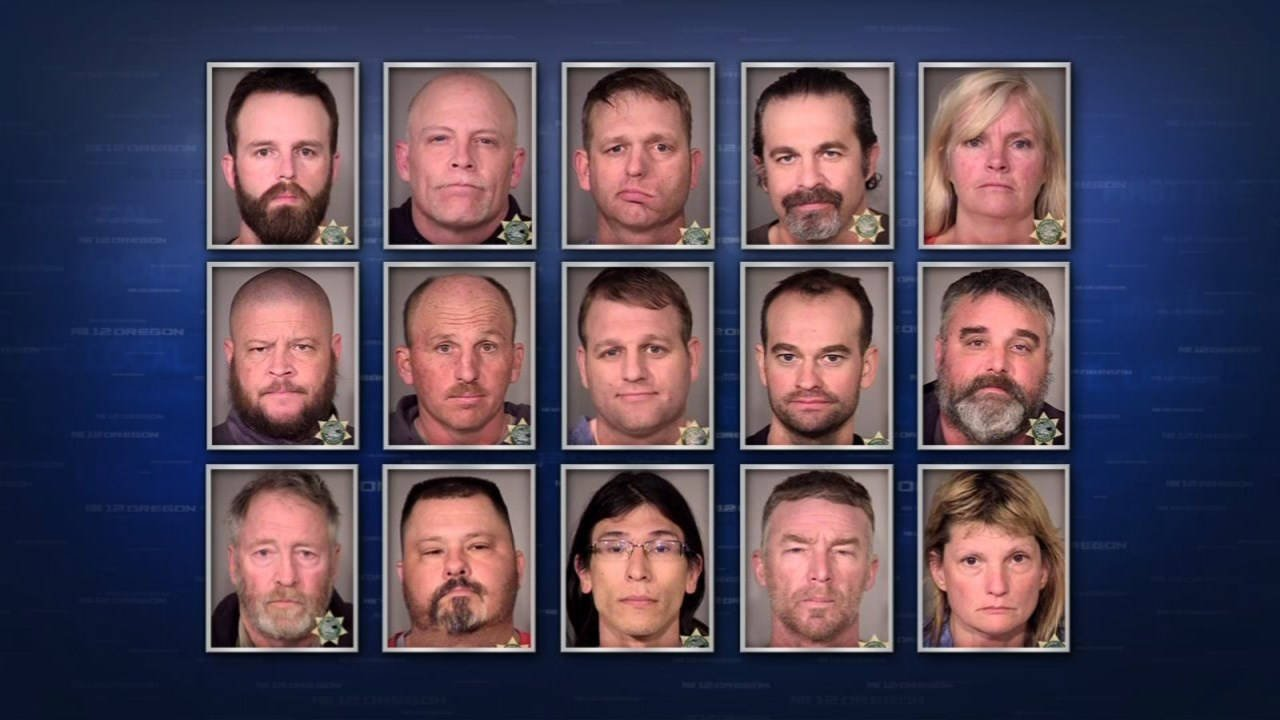 Booking photos of some of the people arrested for the armed occupation of the Malheur National Wildlife Refuge.