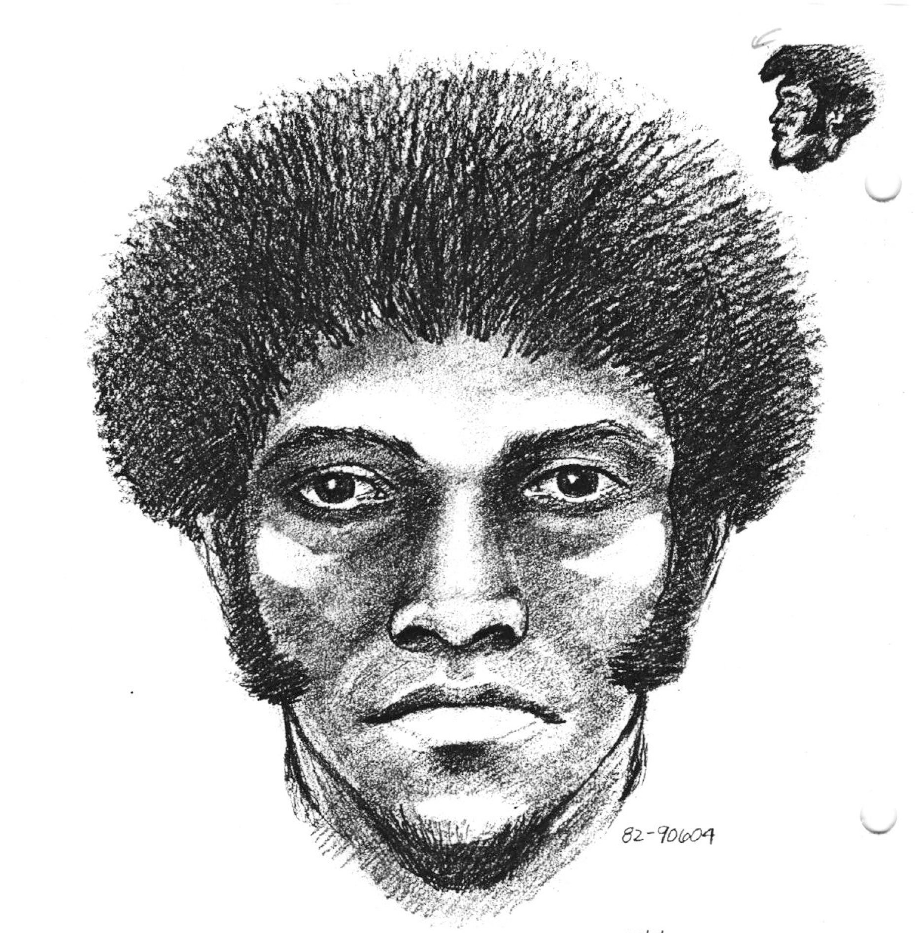 Suspect sketch of Robbie Altom's killer released by police in 1982.