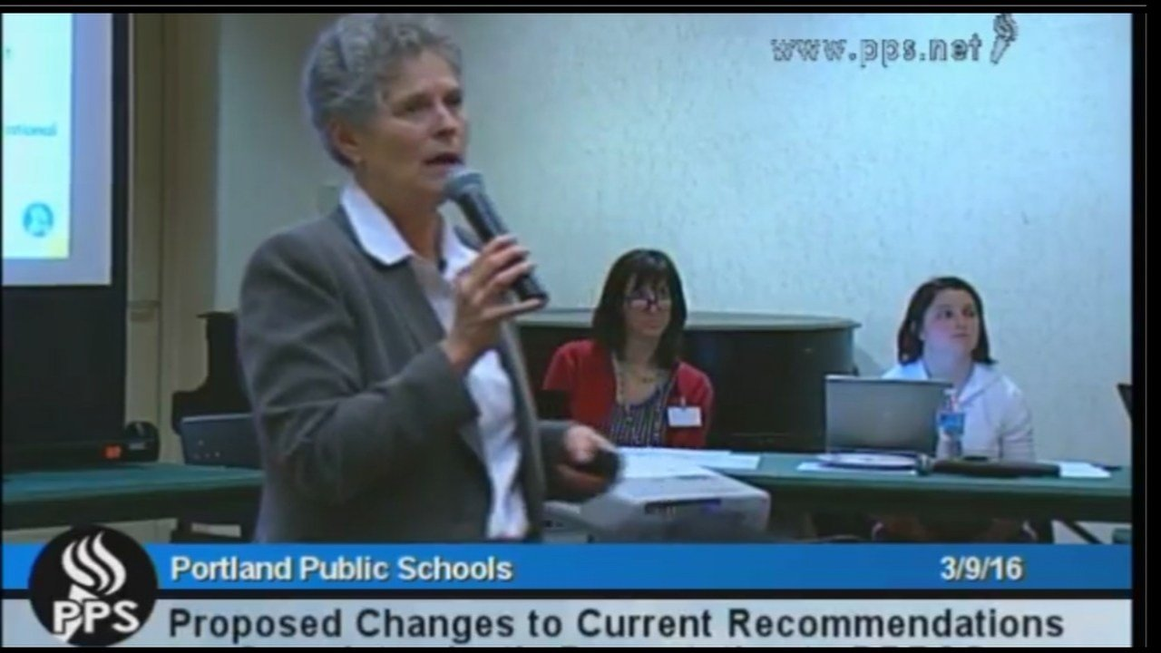 Superintendent Carole Smith of Portland Public Schools outlines her district-wide enrollment balancing proposal to committee members Wednesday afternoon. (PPS Communications)