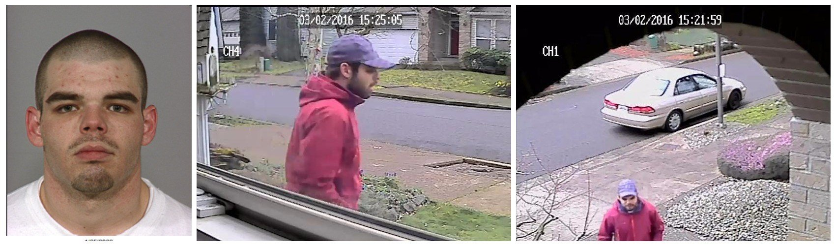 Images of Hentz from the March 4 burglary, provided by Portland Police.