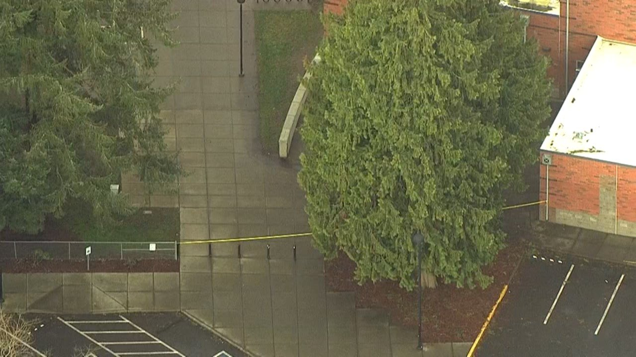 Washington Elementary in Vancouver was the scene of an investigation Thursday morning after police arrested two men for shooting guns on the school grounds overnight. (KPTV)