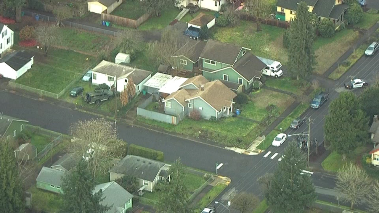 SWAT officers from Vancouver PD were still on scene Thursday morning after an overnight shooting on the grounds of Washington Elementary. (KPTV)