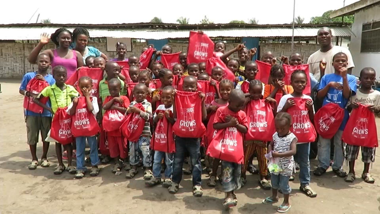 Liberian orphans after they received their new Shoe That Grows sandals (KPTV)