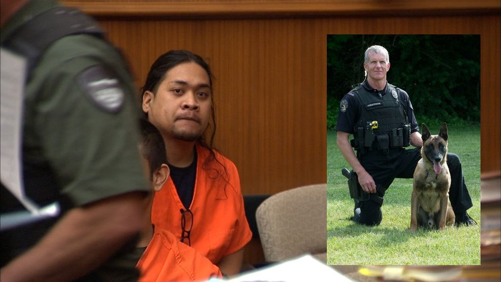 Jacky Chan Karuo pleaded guilty in Clark County Court Friday to the stabbing and killing of Vancouver Police K-9 Ike while officers were trying to arrest Karuo on domestic violence charges. (KPTV)