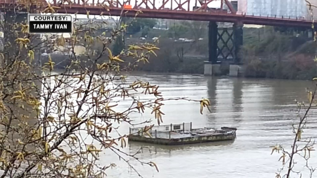 According to reports, the runaway dock was first spotted between the Broadway and Fremont bridges. (Tammy Ivan)