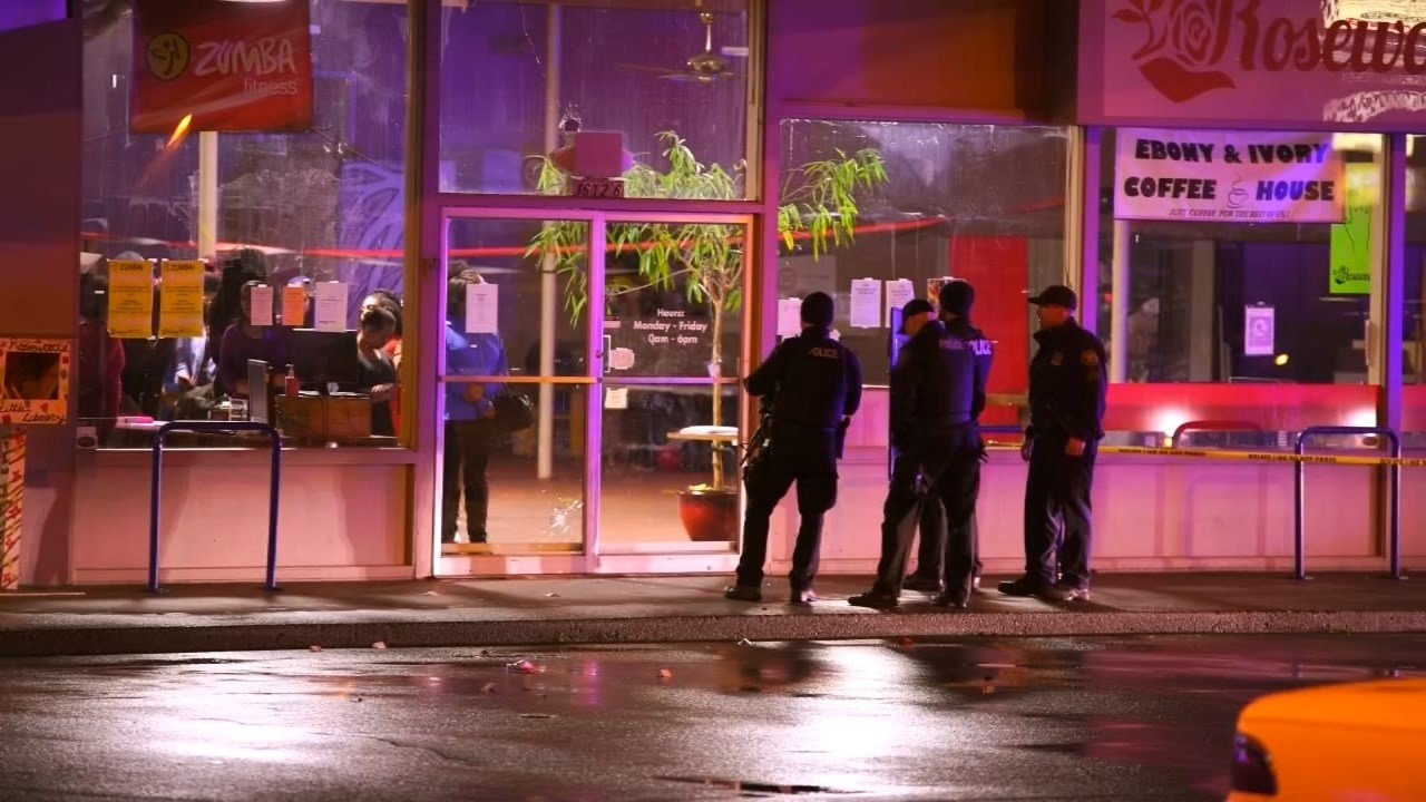 Police at the scene of a shooting at the Rosewood Community Center on Saturday night.