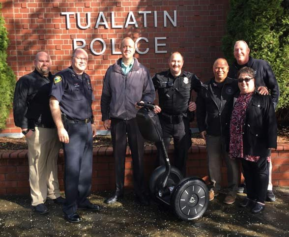 The Segway was donated to the Tualatin Police Department through the Tualatin Community Police Foundation by CentralCal Properties, a company that manages shopping centers including Bridgeport Village. (Photo: Tualatin PD)
