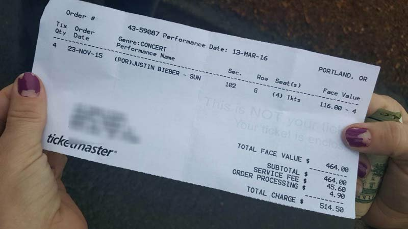 Evidence photo in counterfeit ticket case for Justin Bieber's concert at the Moda Center in Portland. (Photo: Vancouver PD)