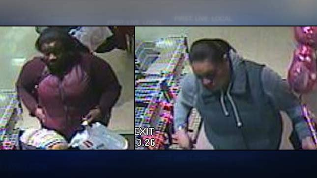 Surveillance images of two women accused of charging $10,000 to credit cards they found inside a lost wallet. (Photos: Milwaukie PD)
