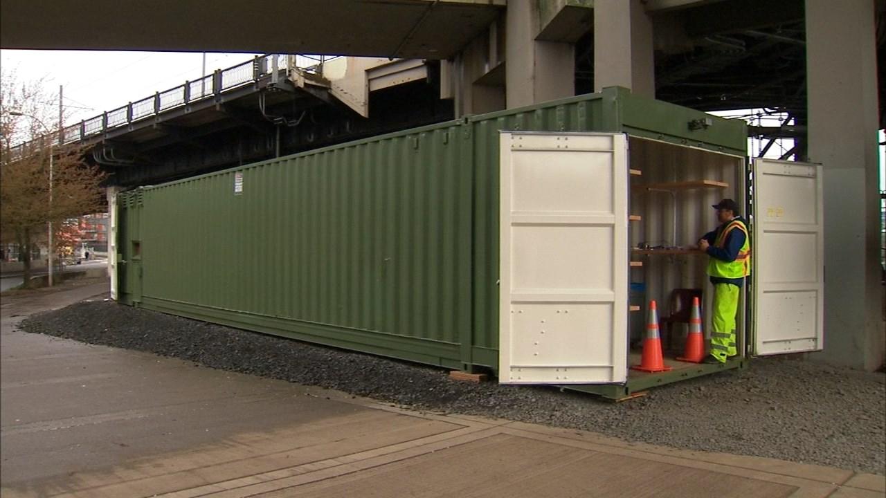 Storage container near the Steel Bridge (KPTV)