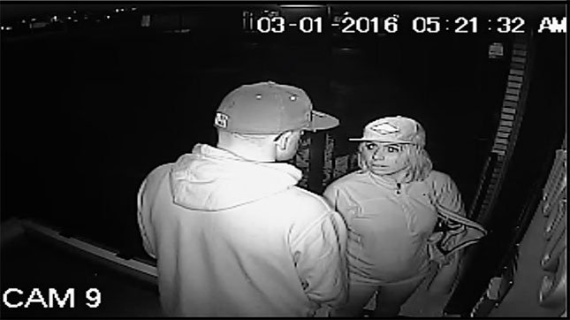 Burglary suspect (pictured, right) caught on surveillance video on March 1.