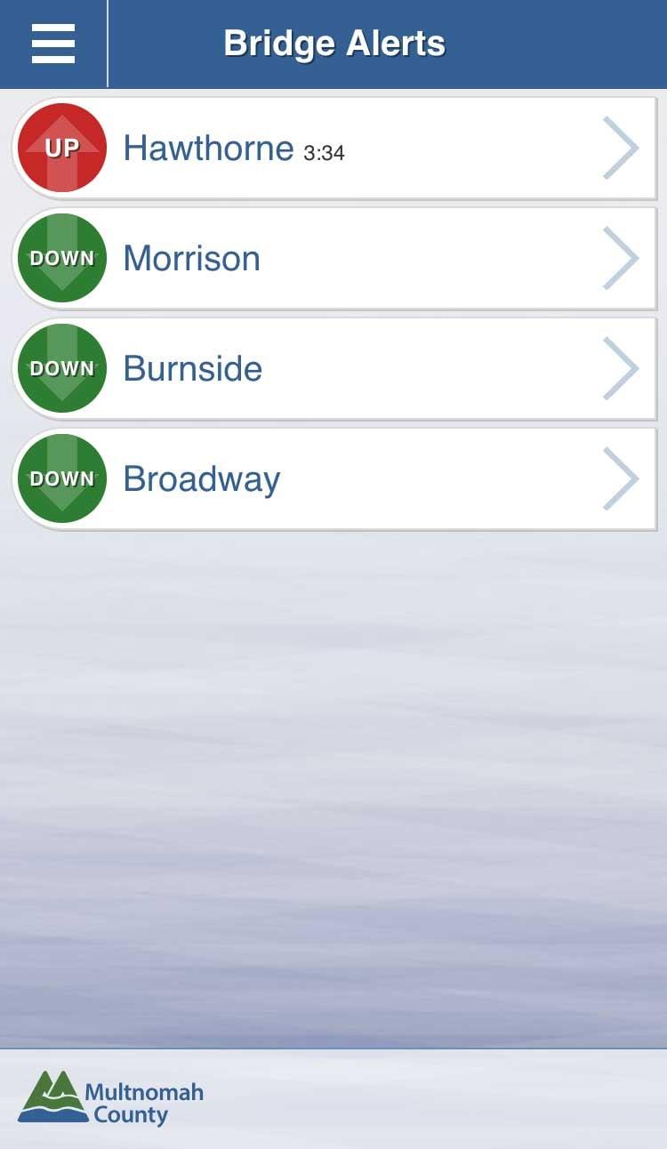Screenshot of Bridge Alerts app from Multnomah County