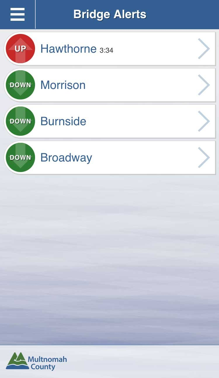 Screenshot of Bridge Alerts app from Multnomah County