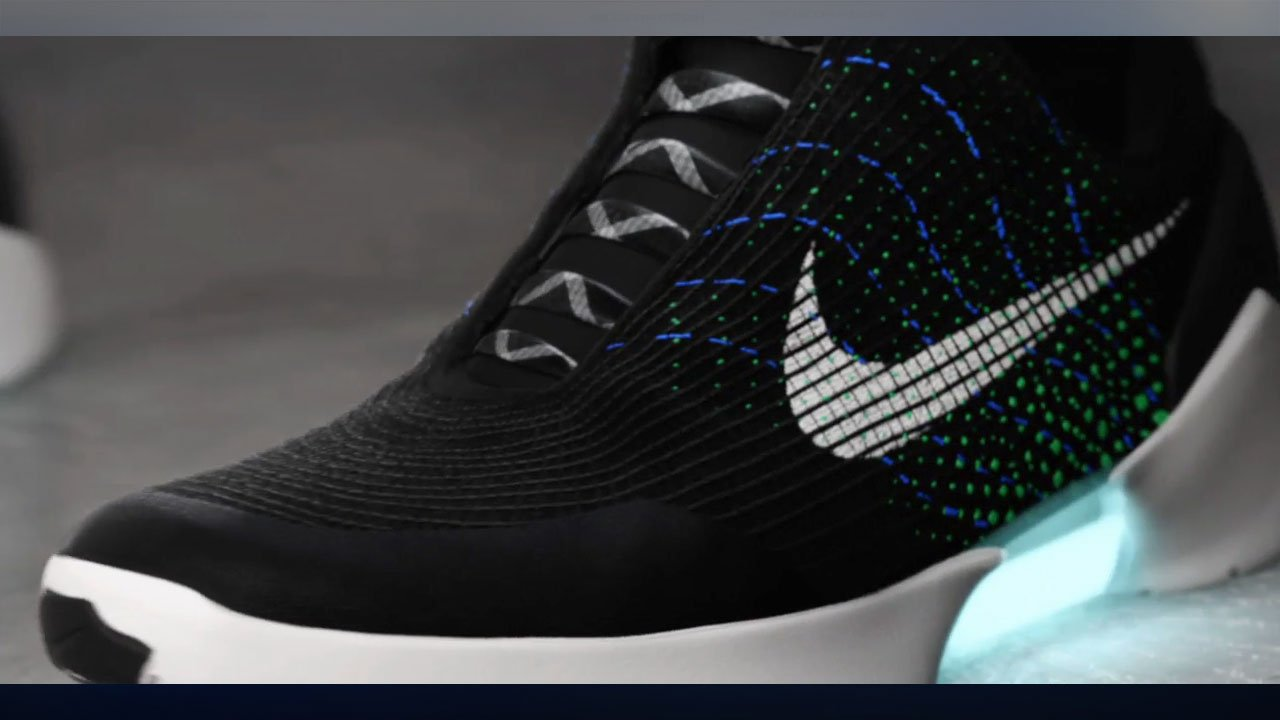 Nike unveiled the HyperAdapt 1.0 at a news conference in New York Wednesday. The shoe use sesors and an app interface to automatically tighten and losen based on the wearer's preferences. (Nike)