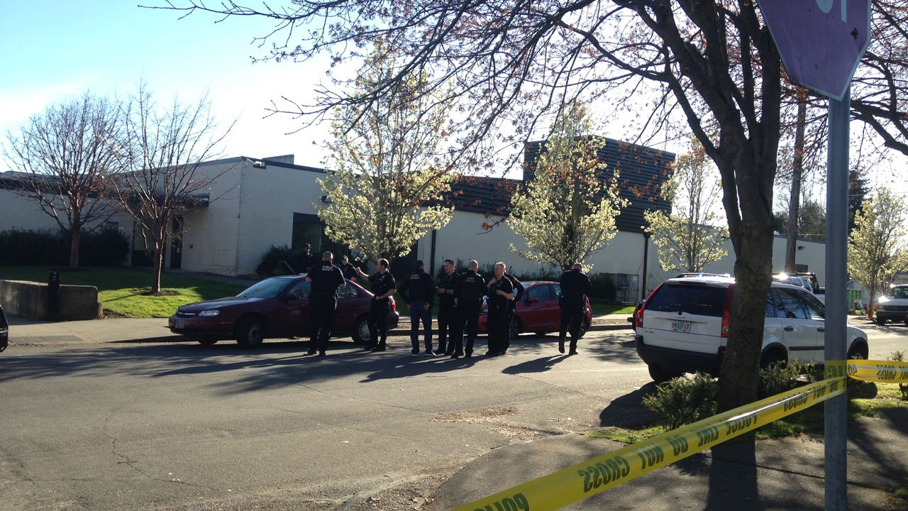 Police at the scene of a shooting in north Portland on Thursday.