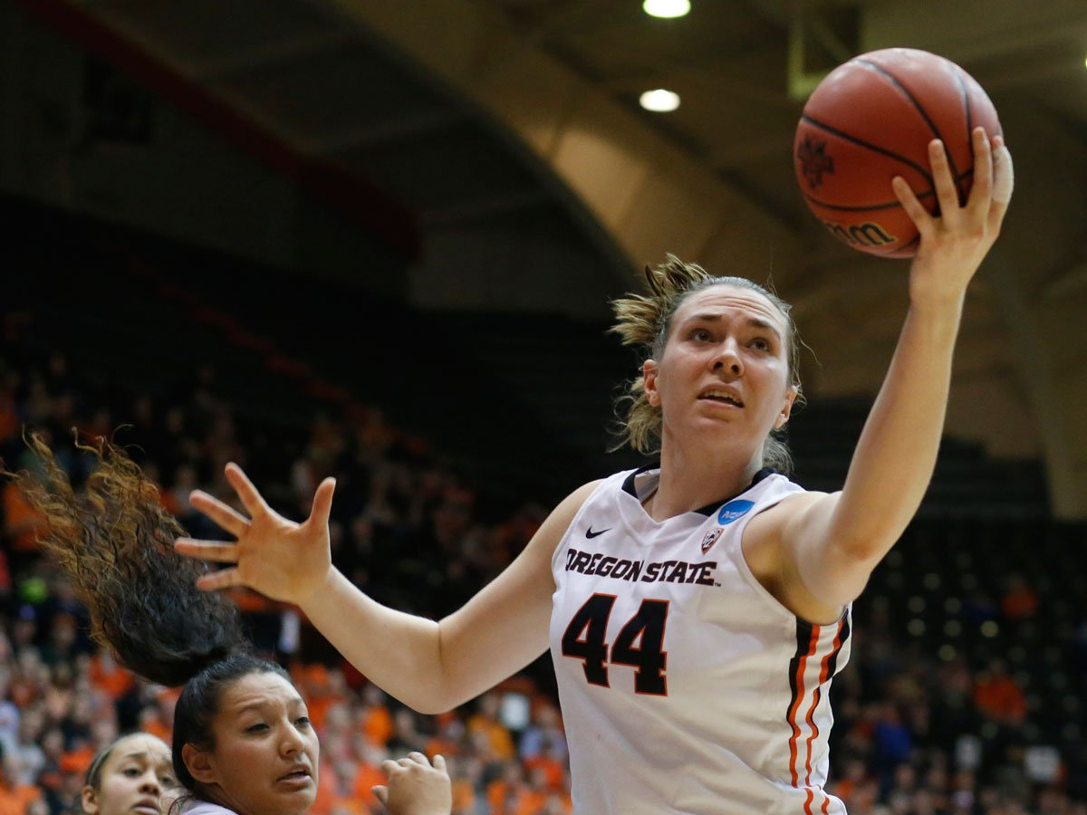 Oregon State's Ruth Hamblin (44) gets a rebound during the second half of a first round women's college basketball game in the NCAA Tournament in Corvallis, Ore., on Friday March 18, 2016. (AP Photo/Timothy J. Gonzalez)