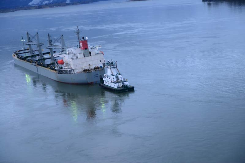 The Sparna reportedly hit a submerged object outbound of the Columbia River and took on water in void spaces, but the vessel's fuel tanks were not damaged. (Photo: US Coast Guard)