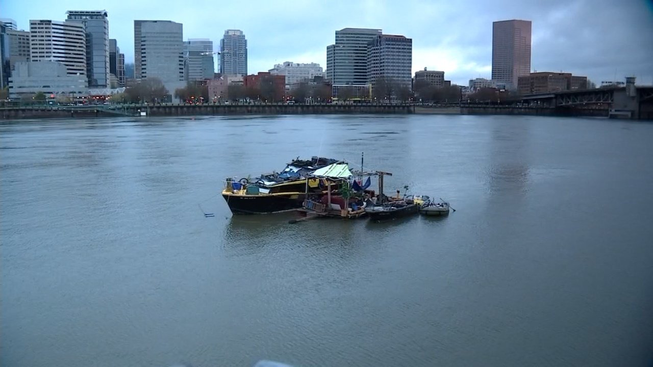 """People going along the Willamette River have seen this man-made """"island"""" float offshore for years. (KPTV)"""