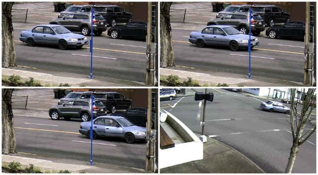Area surveillance images of the woman and vehicle involved. (Photo: Portland Police)