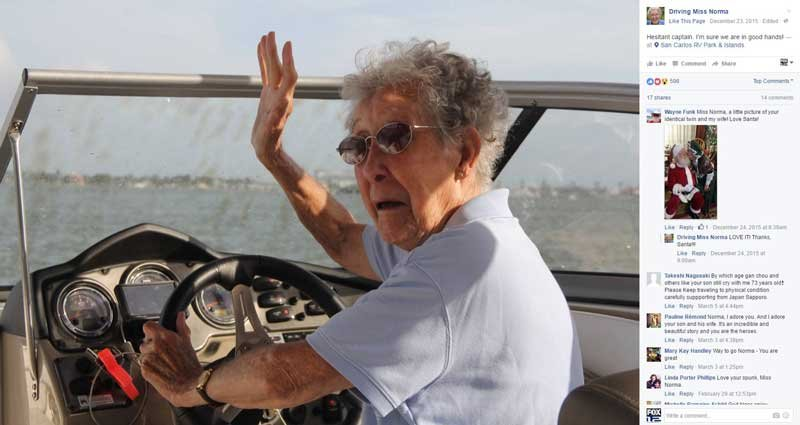 90-year-old Norma chose a road trip over cancer treatment, and she posts regular updates online (Photo: Facebook/Driving Miss Norma)