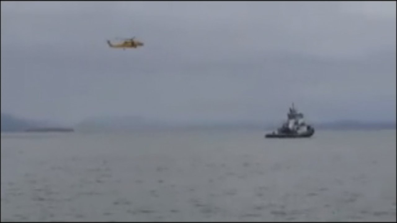Search for missing plane near Astoria. Image from viewer video (Courtesy: Tim Severson)