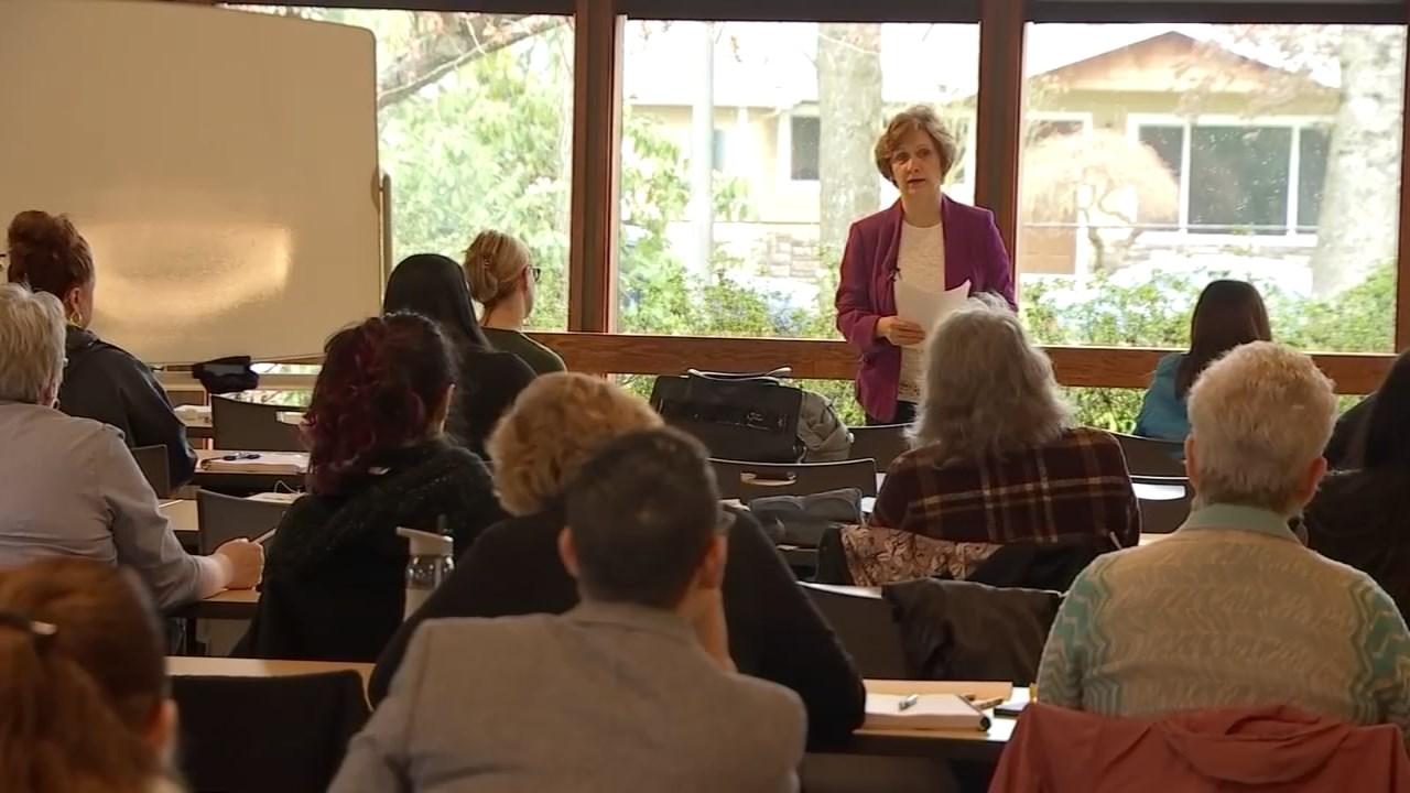 Oregon Congresswoman Bonamici speaking in front of advocates for sexual assault victims. (KPTV)