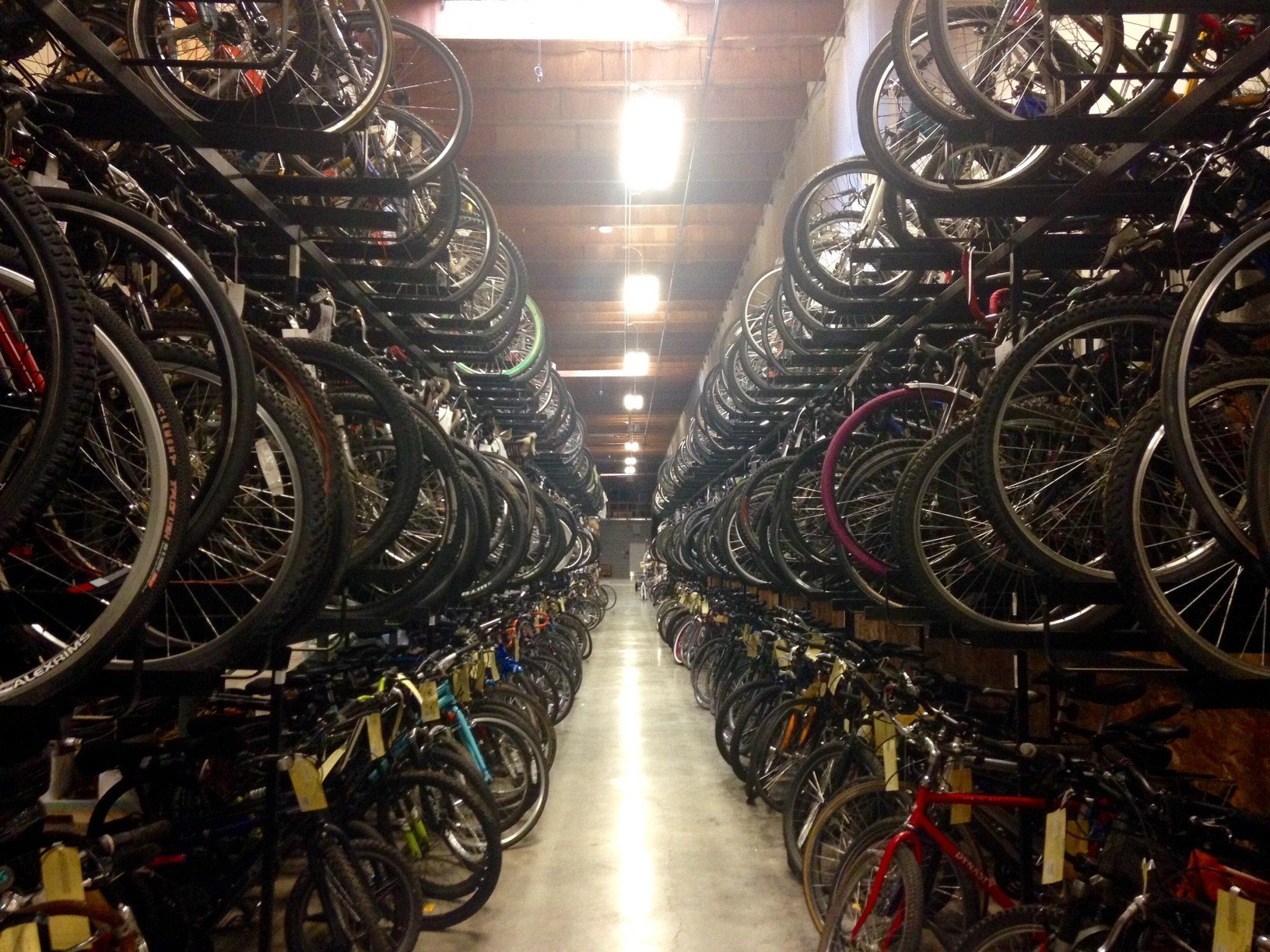 Nearly 400 recovered bikes currently sit in the Portland Police Bureau's property room.