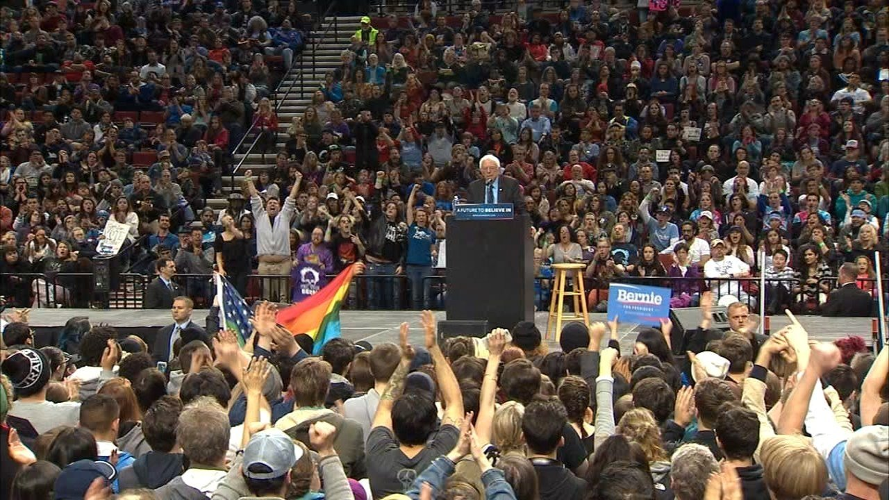 Thousands of people filled the Moda Center for a Bernie Sanders rally Friday.