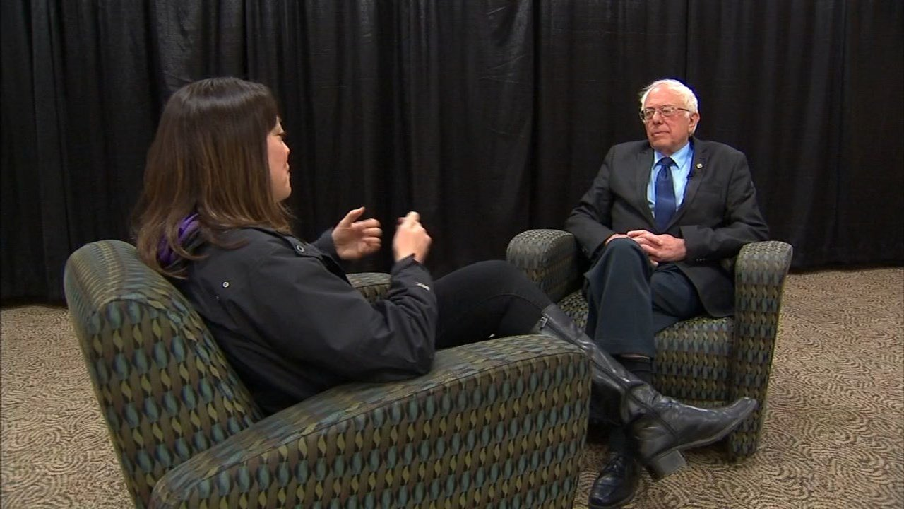 Presidential hopeful Bernie Sanders sat down with Fox 12's Jamie Wilson before his rally in Portland Friday. (KPTV)