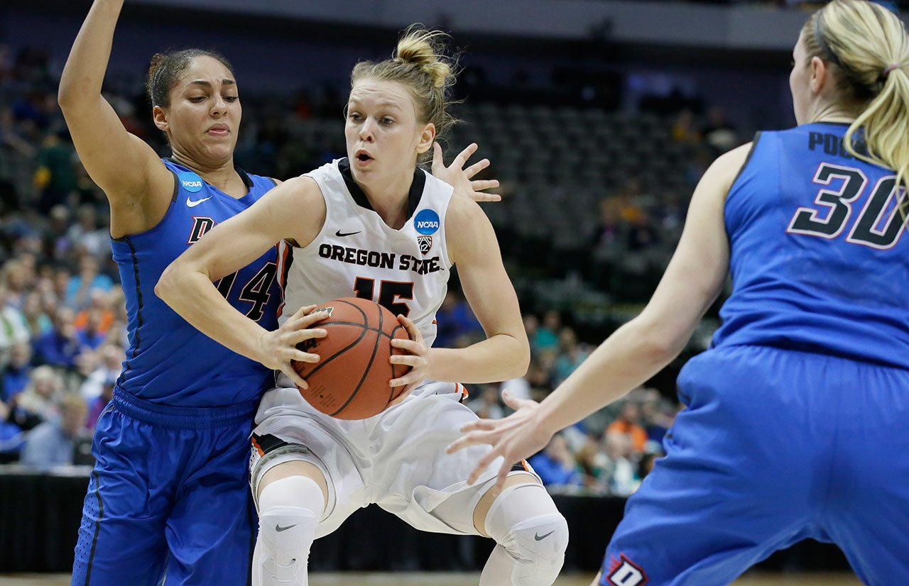 Oregon State guard Jamie Weisner drives against DePaul guard Jessica January during the second half of an NCAA college basketball game in the regional semifinals of the women's NCAA Tournament Saturday, March 26, 2016, in Dallas. (AP Photo/LM Otero)