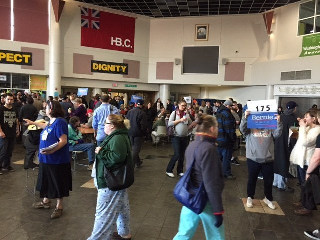 Some caucuses in Washington were so pack Saturday the voting had to be moved outside. (Kandra Kent/KPTV)