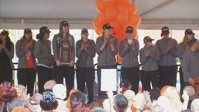 The Oregon State University Women's Basketball returned to campus Tuesday to a rally celebrating the team's Elite 8 win over Baylor that is sending them to the Final Four.