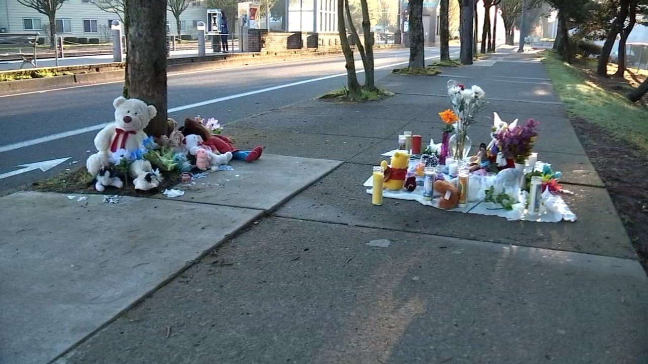 A memorial formed Tuesday for Jafaar Shbeb, who died after being hit by a car in Gresham.