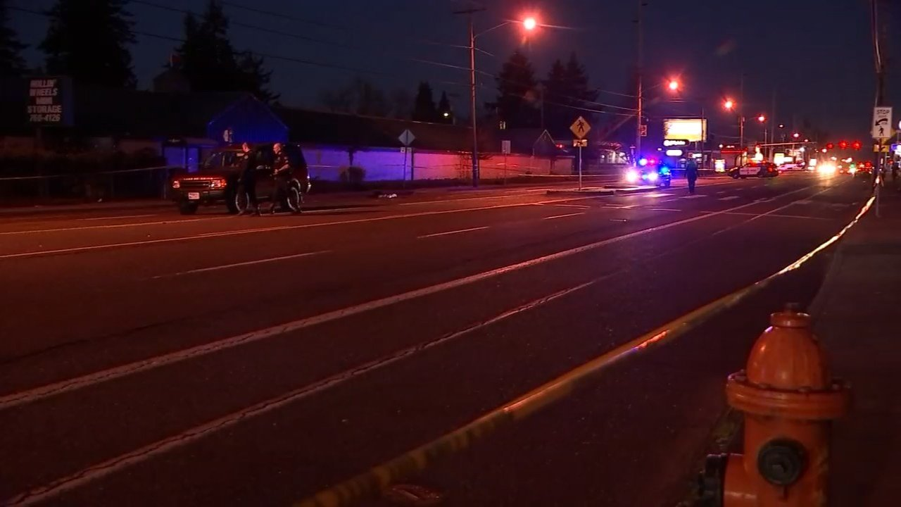 A pedestrian suffered life-threatening injuries after being hit by a Land Rover at Southeast 143rd and Division Street on Monday evening.